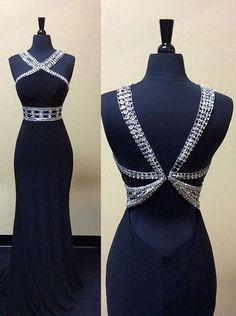 New black sequins open back long evening dresses, custom-size long slim prom dresses M0502