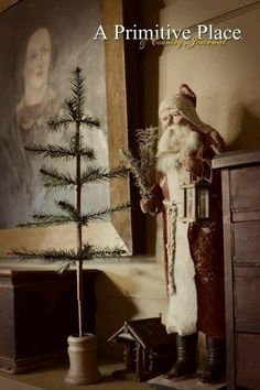 primitive santa | Primitive Santa...feather tree. | Olde Saint Nick