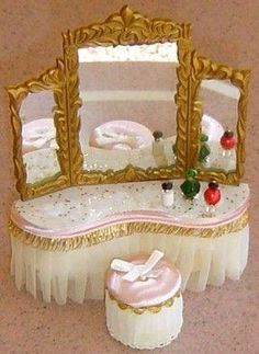 Got mine as a kid filled out the collection as an adult. I Petite Princess Doll House Furniture. Got mine as a kid filled out the collection as an adult. Best Doll House, Mini Doll House, Barbie Doll House, Dollhouse Furniture Sets, Barbie Furniture, Furniture Vanity, Miniature Furniture, Vintage Furniture, Vintage Dollhouse