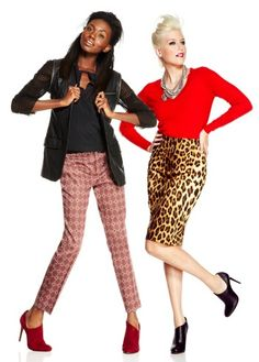 Give your work wardrobe some punch with a bright v-neck sweater and bold animal print skirt. Or pair retro printed slacks with a silk top and just a touch of leather with an easy to wear vest.