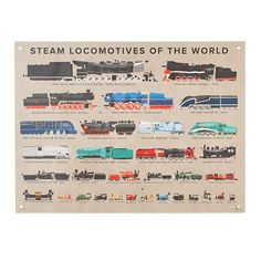 Get on board with our Steam Locomotives Banner.  It features a trainload of locomotives from around the world on a neutral, easy-to-coordinate tan background and was exclusively illustrated for us by artist Paul Daviz.