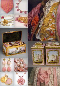 Rococo Fashion Pink Tea Set French English Jean-Baptiste Greuze