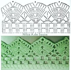 If you looking for a great border for either your crochet or knitting project, check this interesting pattern out. When you see the tutorial you will see that you will use both the knitting needle and crochet hook to work on the the wavy border. Crochet Boarders, Crochet Edging Patterns, Crochet Lace Edging, Crochet Diagram, Crochet Chart, Crochet Trim, Filet Crochet, Crochet Designs, Crochet Flowers