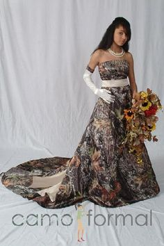 camo and orange wedding gowns