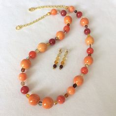 Colorful orange red necklace earring set Multicolor necklace Boho chic beaded necklace Long ceramic bead necklace Jewelry gift for her