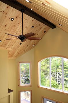 Distinctive Interiors - Appearance Grade T&G Pine on Vaulted Ceiling with Custom Solid Pine Window Casings Wood Plank Ceiling, Ceiling Trim, Porch Ceiling, Wood Ceilings, Wood Planks, Knotty Pine Rooms, Wood Floor Stain Colors, Pine Trim, Tongue And Groove Ceiling