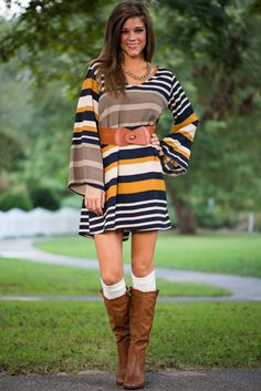 It probably won't be only you who realizes the amazingness that is this stunning shift! With gorgeous, multi-sized stripes in a color combination too legit to quit, we can't find a single thing to improve upon! Seriously, even the easy fit is taken to a new level thanks to that insanely cute belt it comes with! <br /> <br />Bra-friendly! Material has no amount of stretch. Belt pictured is included! <br />Miranda is wearing the small. <br /> <br />Sizes fit: <br />Small- 0-4; Medium- 6-8;...