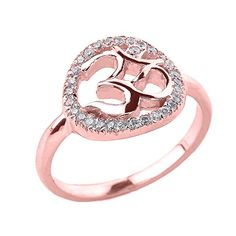 Fine 10k Rose Gold CZ Halo Om Ring Size 12 *** See this great product.(This is an Amazon affiliate link)