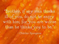 brother, if any man thinks ill of you, do no be angry with him; for you are worse than he thinks you to be ~ charles spurgeon