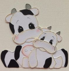MADE TO ORDER SCRAPBOOK PAPER PIECING MOM AND BABY COW BY MY TEAR BEARS KIRA