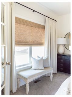 Large Window Curtains, Blinds For Large Windows, Ivory Curtains, Neutral Bedroom Curtains, Burlap Curtains, Bay Windows, Modern Curtains, Window Seats, Large Window Treatments