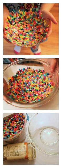 Homemade Gift Idea: Use perler beads to make a colorful bowl-awesome idea!! Heat for about 10 minutes at about 390. DON'T FORGET TO SPRAY BOWL WITH COOKING SPRAY FIRST. Original instructions I read didn't tell you that-three bowls in the trash later!