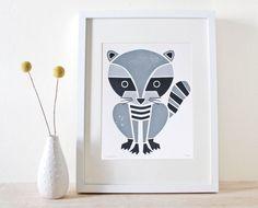 Waschbär Siebdruck Kunst Print von sassandperil auf Etsy, $20.00