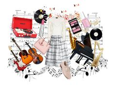 """Music is in the Air"" by keepfashion92 ❤ liked on Polyvore featuring Music Notes, Chicwish, Topshop, Clarks, Essie, Surratt and Givenchy"