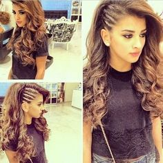 Twist (cornrows look alike) side with the rest of the hair curled. lily wants this hairdo. Hairstyles For Round Faces, Pretty Hairstyles, Wedding Hairstyles, Latest Hairstyles, Evening Hairstyles, Edgy Hairstyles, Side Braid Hairstyles, Summer Hairstyles, Fat Face Hairstyles