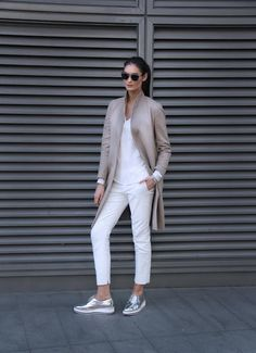 Spring Beige Coat on White