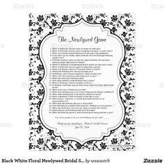 Black White Floral Newlywed Bridal Shower Game Letterhead