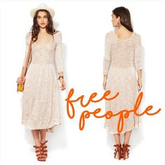 Free People beige henley maxi sweater dress Get vacation or festival ready with this vintage inspired scoop neck maxi dress. Features a button front with alternating snap closures on the bodice. 3/4 length sleeves and asymmetrical high low hem. Sheer at the top.  Condition: excellent pre-loved, other than a few tiny snags on the bottom front. Shown in last photos. Barely noticeable when worn. Measurements: to be added Materials: 100% rayon Free People Dresses Maxi