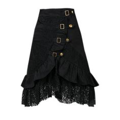 Women's Steampunk Gothic Vintage Lace Gypsy Hippie Skirt (€22) ❤ liked on Polyvore featuring skirts, black, knee high skirts, hippy skirt, goth skirt, steam punk skirt and gypsy skirt