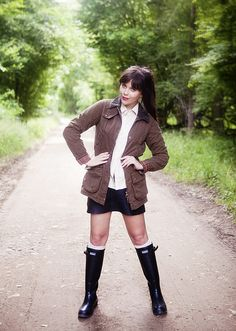 Carrie from WishWishWish wears a Barbour jacket, shirt and wellies.