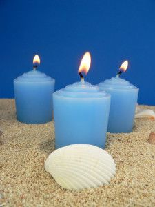 Scented Candles On Beach