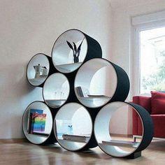 mensola-con-i-cerchi.Mensole e ripiani a muro di design (Foto)