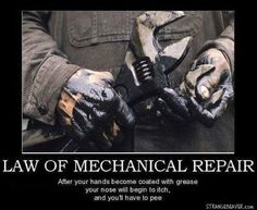 Sometimes just washing your hands will not remove motor oil or grease. Removing motor oil and grease from hands can be a difficult feat, but with a few simple steps your hands will be clean again. Aviation Mechanic, Aviation Humor, Truck Mechanic, Funny Mechanic Memes, Mechanic Garage, Car Memes, Car Humor, Fallout, Car Throttle