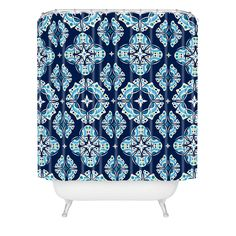 Andi Bird Butterfly Ornamental Blue Shower Curtain | DENY Designs Home Accessories