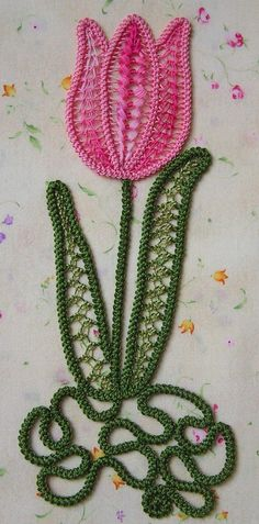 This beautiful Tulip pattern contains: Lizbeth thread No.171 Green Coral Sea, size 20 for simple braids and needle lace stitches on the tulip; Puppets Green Variegated thread, size 16 for the simple and double braids for the leaves and for needle lace stitches on the leaves; 1