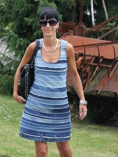 Jeansrecycling - Streifenkleid, Upcycling, Kleid nähen