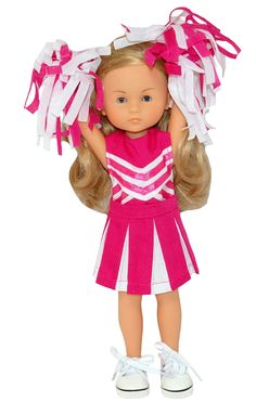 These dolls may be small but they can certainly cheer big wearing this cute cheerleader set. Included is a skirt and top that fasten at the back with a Velcro strip and a pair of pink and white pom poms with elastic straps to secure to the dolls hand. Boy Doll, Girl Doll Clothes, Girl Dolls, Cute Cheerleaders, Cheerleading Outfits, American Girl Wellie Wishers, Wellie Wishers Dolls, Cabbage Patch Kids, Doll Shoes