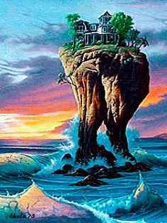 Jim Warren - House with a View Fantasy Landscape, Fantasy Art, Jim Warren, Magic Realism, Water Reflections, Unusual Art, Science Fiction Art, Surreal Art, Optical Illusions