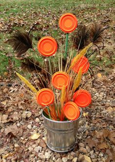 Clay Pigeon / Sporting Clay Bouquet: When a boring bouquet of flowers just didn't seem good enough, I came up with this! Perfect Get Well Soon arrangement for guys!