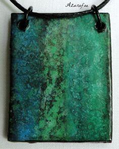 Galaxy Necklace  Green & Blue Galaxy Watercolor by Azurafae, $15.00