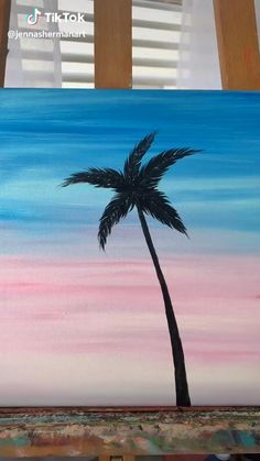 Easy Canvas Art, Simple Canvas Paintings, Small Canvas Art, Mini Canvas Art, Easy Art, Diy Canvas, Palm Tree Paintings, Cross Canvas Paintings, Cute Easy Paintings
