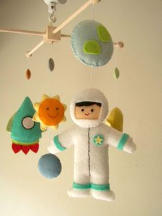 Baby crib mobile astronaut mobile space mobile by Feltnjoy on Etsy