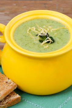 This guilt-free version of broccoli cheese soup tastes just like the original but has the calories and fat! Def more broccoli than cheddar, but still yummy. 2 green, 1 blue per serving Broccoli Soup Recipes, Broccoli Cheese Soup, Broccoli Cheddar, Vegetarian Recipes, Healthy Recipes, Frozen Broccoli, Vitamix Recipes, Dairy Recipes, Healthy Soups