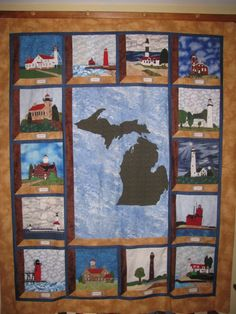 One of my first quilt projects. Michigan Lighthouse dedication quilt. Each block is dedicated to a special woman in my life