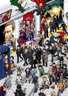 Forget Waldo, Where's Your Fandom?-- I found IronMan, Thor, Loki, Darth Vader, Sherlock and Watson, TARDIS, Rory Amy River Jack 11, Professor X, Sam Dean & Castiel, and Patrick Jane being chased by Lisbon.