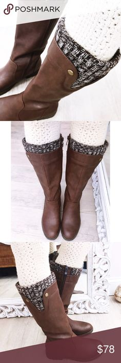 """Olivia Miller """"KERRI"""" boots Beautiful boots by Olivia miller!✨ brand new! Retail $80. Rich brown color with sweater upper lining and gold accent studs! Rugged rubber soles and side zipper. Faux leather. Will fit 6.5, 15""""L, 1 1/2"""" heel. Offers welcome ❤️ no trades thank you Olivia Miller Shoes Winter & Rain Boots"""