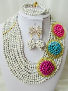 Beautiful White and mixed Turquoise Necklace Nigerian Wedding African Beads Costume Jewelry Set 2014 New Free Shipping TC032 $68.94
