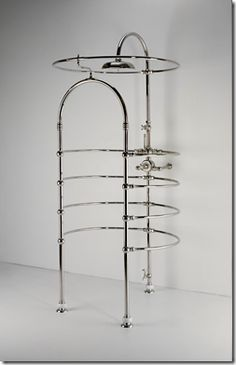 "Victorian-style ""cage"" shower via Waterworks. There are still some buildings on the East Coast with the original versions of this. Would be perfect for a steampunk shower room."