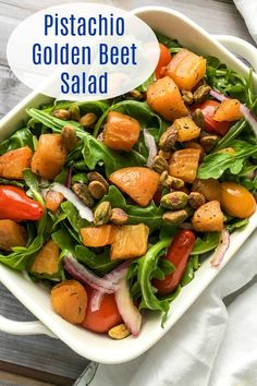 My pistachio golden beet salad is perfectly delicious and nutritious, when you want a pretty side dish or a satisfying main dish. Healthy Vegetable Recipes, Healthy Eating Recipes, Vegetarian Recipes, Healthy Eats, Beet Salad Recipes, Fruit Recipes, Golden Beets Recipe, Plant Based Eating, Vegan Dinners