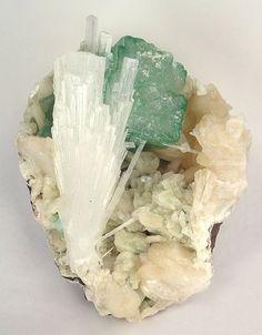 Scolecite with Apophyllite on Stilbite
