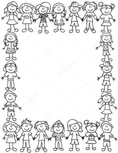 Frame or page border of cute kid cartoon characters holding hands - black outline Kids Cartoon Characters, Cartoon Kids, Page Borders, Borders And Frames, Colouring Pages, Coloring Sheets, Kindergarten Portfolio, Planner Doodles, Cute Frames
