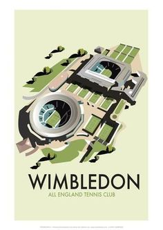 East Urban Home A stunning design of Wimbledon 'All England Tennis Club' by talented artist, Dave Thompson. Thompson's art revisits a classic era of poster design, taking many elements of popular travel art, while remaining current and vibrant. Tennis Posters, Sports Posters, Wimbledon Tennis, Travel Ads, Tennis Clubs, Cool Posters, Posters Uk, Train Posters, Railway Posters