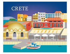 ARTIST INSPIRATION: This is a horizontal art print of Crete. This view is of the Venetian port of Chania, the second largest city in Crete. Old Posters, Cities, Hallmark Greeting Cards, Travel Wall Art, Mediterranean Architecture, Retro Poster, Crete Greece, Mykonos Greece, Athens Greece