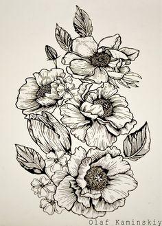 татуировка цветы эскиз пионы графика blackwork linework