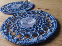 Crochet earrings lace earrings hoop earrings by FarbotyKnoty Lace Earrings, Button Earrings, Crochet Earrings, Hoop Earrings, March Madness, Plastic Beads, Lace Making, Earring Backs, Crochet Lace