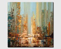 Abstract Print, City Abstract Painting, Wall Art, PRINT on Canvas, City Canvas Art Print by Osnat in 2019 City Canvas Art, Abstract Canvas, Abstract City, Abstract Print, Canvas Wall Art, Cityscape Art, Fine Art, Art Prints, Drawing